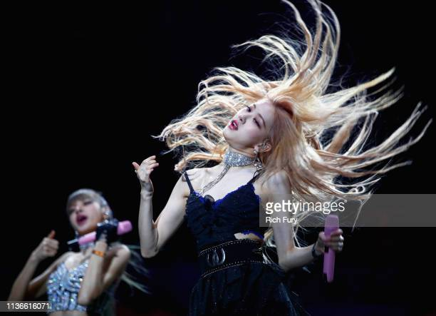 Lisa and Rosé of BLACKPINK perform at Sahara Tent during the 2019 Coachella Valley Music And Arts Festival on April 12 2019 in Indio California