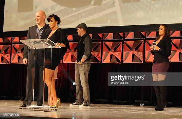 Lisa Ann of Fleshlight accepts the award for Adult Star Branded Pleasure Product of the Year at the 10th Annual XBIZ Awards at The Barker Hanger on...