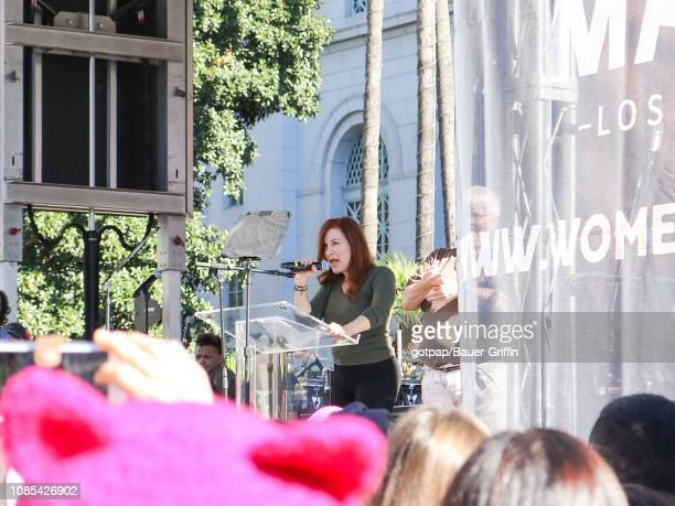 Lisa Ann Walter is seen speaking during the 2019 Women's March Los Angeles on January 19 2019 in Los Angeles California