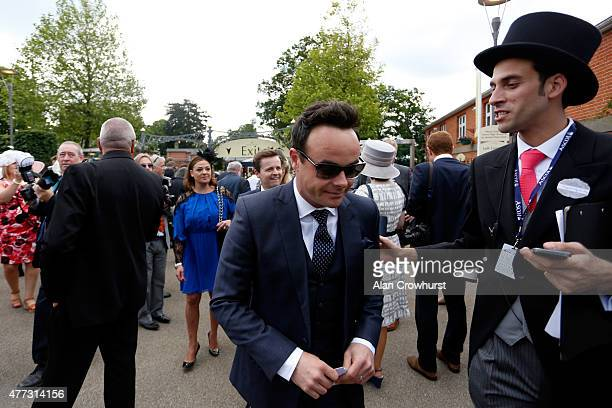 Lisa Armstrong presenter Declan Donnelly and presenter Anthony McPartlin attend Royal Ascot 2015 at Ascot racecourse on June 16 2015 in Ascot England