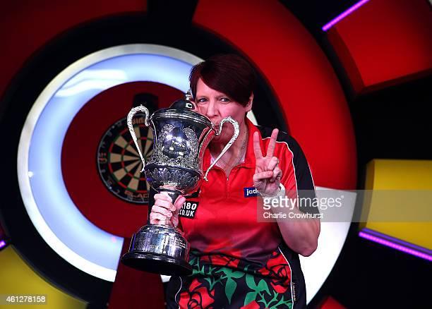 Lisa Ashton of England celebrates winning the women's final against Fallon Sherrock of England during the BDO Lakeside World Professional Darts...