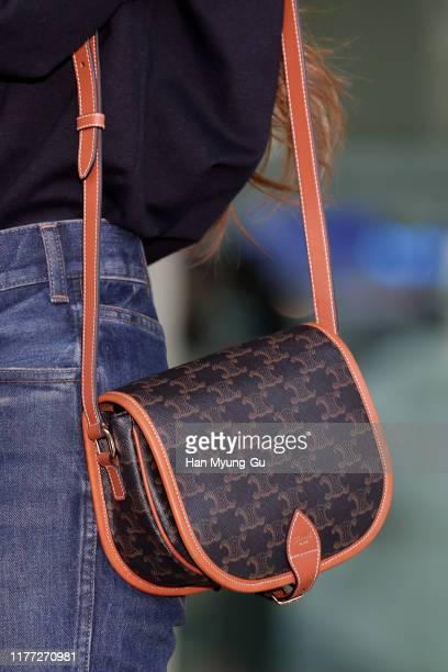 Lisa bag detail aka Lalisa Manoban of South Korean girl group BLACKPINK is seen on departure at Incheon International Airport on September 26 2019 in...