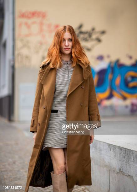 Lisa Banholzer is seen wearing brown wool coat dress beige boots outside Lala Berlin lunch presenting SS19 collection on November 22 2018 in Berlin...