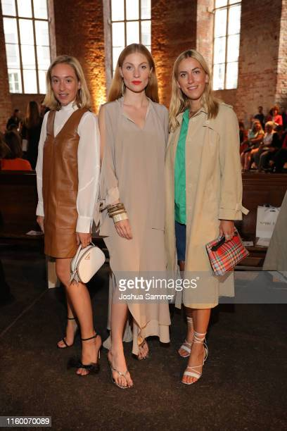 Lisa Banholzer Sonia Lyson and Tanja Trutschnig attend the Nobi Talai fashion show during the Berlin Fashion Week Spring/Summer 2020 at...