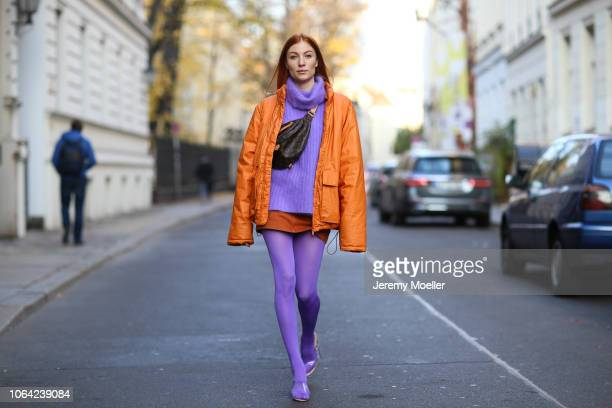 Lisa Banholzer wearing a Wolford tights Yeezy shoes Weekday jacket and Louis Vuitton Bum bag on October 28 2018 in Berlin