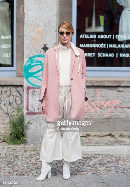 Lisa Banholzer wearing pink jacket top and pants during the MercedesBenz Fashion Week Berlin Spring/Summer 2018 at Kaufhaus Jandorf on July 6 2017 in...