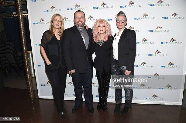 Lisa Barbaris executive director of the True Colors Fund Gregory Lewis Cyndi Lauper and Janna Shelton attend the 4th Annual Home For The Holidays...