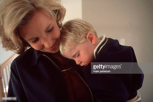 Lisa Beamer and her son at home Beamer's husband Todd helped stop the flight hijackers on UA flight 93 aiming to crash on Washington DC target Photo...