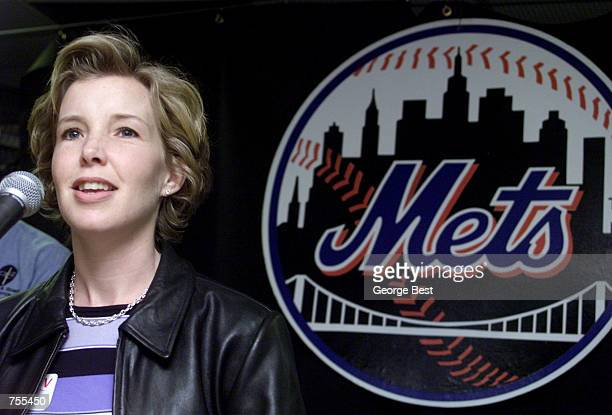 Lisa Beamer whose husband Todd Beamer was killed on flight 93 over PA speaks to the news media after receiving a check from the New York Mets for the...
