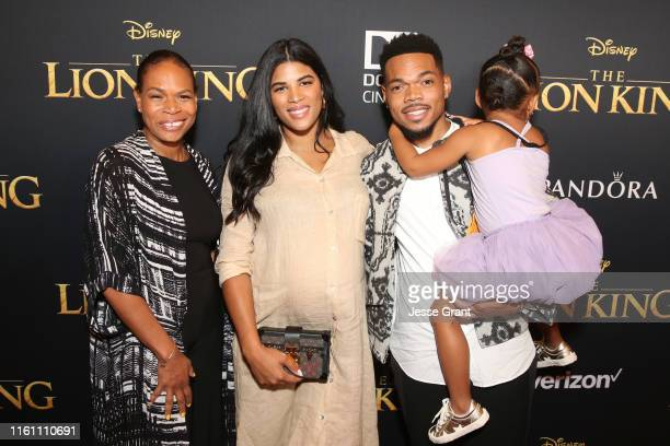 Lisa Bennett Kirsten Corley Chance The Rapper and Kensli Bennett attend the World Premiere of Disney's THE LION KING at the Dolby Theatre on July 09...
