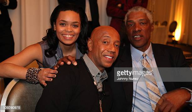 Lisa Bennett Russell Simmons and Julius Erving attend the Hennessy Presents The Conversation Erving Simmons Mentorship Dinner at the SLS Hotel on...