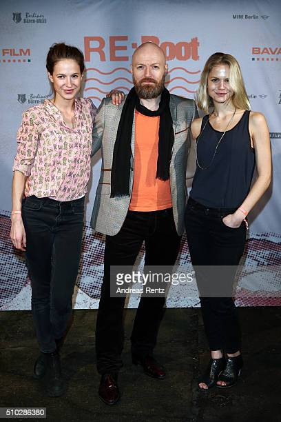 Lisa Bitter Erik Madsen and Sinja Dieks attend the Bavaria Film Party REBOOT on February 14 2016 in Berlin Germany