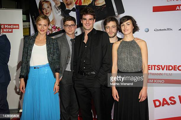 Lisa Bitter, Stefan Ruppe, Marian Kindermann, Martin Aselmann and Lucie Heinze attends the 'Das Hochzeitsvideo' World Premiere at Cinedome Cologne on...