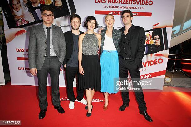 Lisa Bitter Stefan Ruppe Marian Kindermann Martin Aselmann and Lucie Heinze attend the 'Das Hochzeitsvideo' World Premiere at Cinedome Cologne on May...