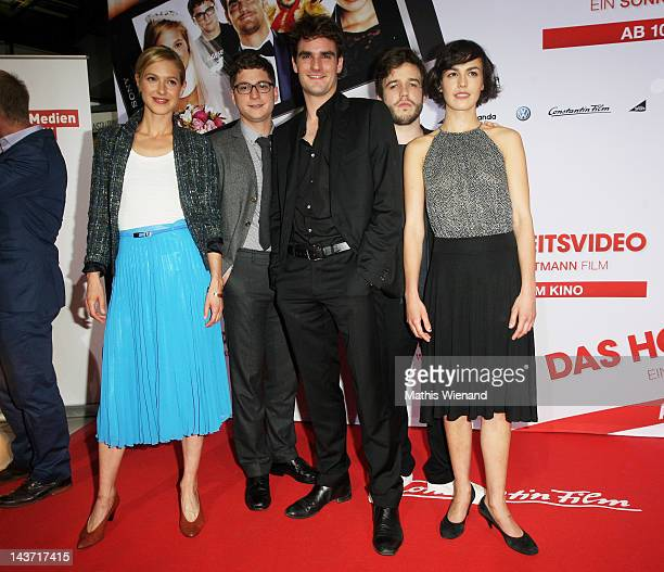 Lisa Bitter Stefan Ruppe Marian Kindermann Martin Aselmann and Lucie Heinze attends the 'Das Hochzeitsvideo' World Premiere at Cinedome Cologne on...