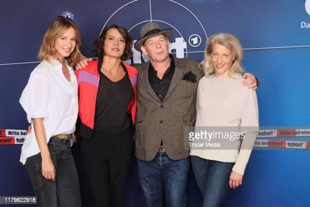 Lisa Bitter Ulrike Folkerts Ben Becker and Brigitte Maria Bertele during the 30 Jahre Lena Odenthal Tatort set visit on October 2 2019 in Hamburg...