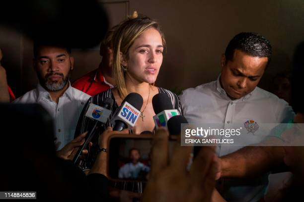 Lisa Blanco wife of Dominican television presenter Joel Lopez who was wounded in a shooting incident along with former Boston Red Sox slugger David...