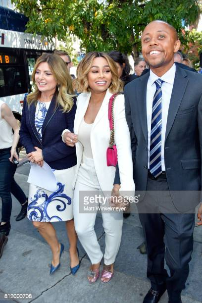 Lisa Bloom Blac Chyna and Walter Mosley attend a precourt hearing press conference at Los Angeles Superior Court on July 10 2017 in Los Angeles...