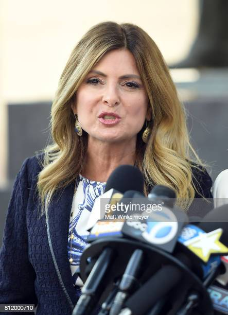 Lisa Bloom speaks during a precourt hearing press conference at Los Angeles Superior Court on July 10 2017 in Los Angeles California