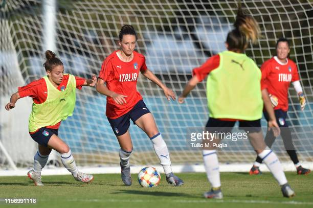 Lisa Boattin and Ilaria Mauro of Italy Women in action during a training session at Training Center MHSC Bernard Gasset Grammont on June 19 2019 in...