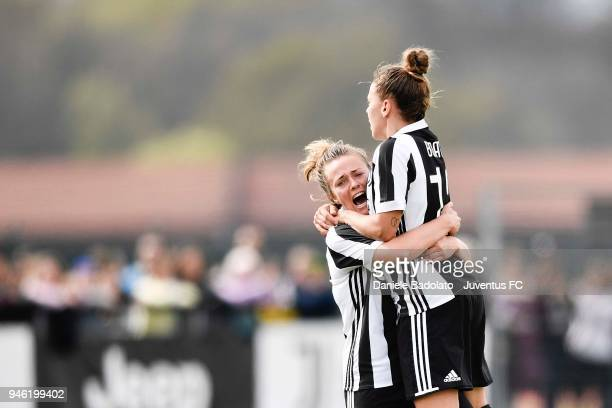 Lisa Boattin celebrates 12 goal during the serie A match between Juventus Women and Brescia Calcio Femminile on April 14 2018 in Vinovo Italy