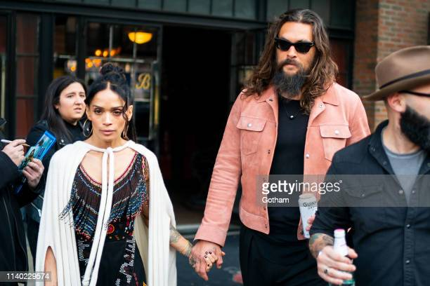 Lisa Bonet and Jason Momoa are seen in the East Village on April 03 2019 in New York City