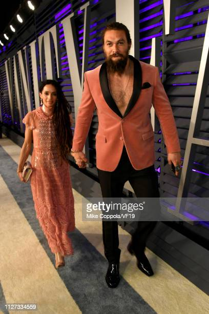 Lisa Bonet and Jason Momoa attend the 2019 Vanity Fair Oscar Party hosted by Radhika Jones at Wallis Annenberg Center for the Performing Arts on...