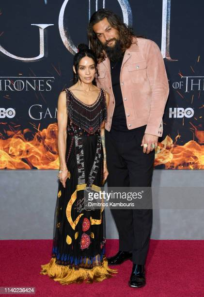 """Lisa Bonet and Jason Momoa attend the """"Game Of Thrones"""" Season 8 Premiere on April 03, 2019 in New York City."""