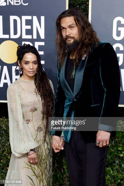 Lisa Bonet and Jason Momoa photographed on the red carpet of the 77th Annual Golden Globe Awards at The Beverly Hilton Hotel on January 05, 2020 in...