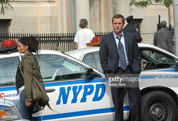 "Lisa Bonet and Jason O'Mara work on location on ""Life On Mars"" on August 7, 2008 in the Brooklyn Borough of New York City."