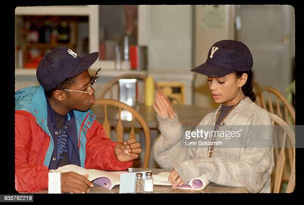 Lisa Bonet and Kadeem Hardison read a scene together on the set of their show A Different World Aired 19871993