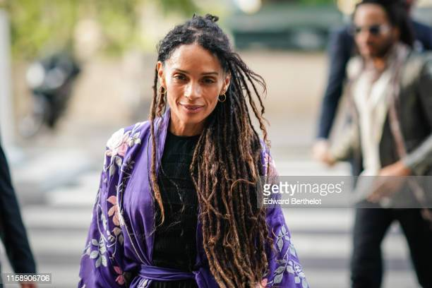 Lisa Bonet arrives at Laperouse restaurant where a prewedding dinner for Zoe Kravitz and Karl Glusma is to be held on June 28 2019 in Paris France