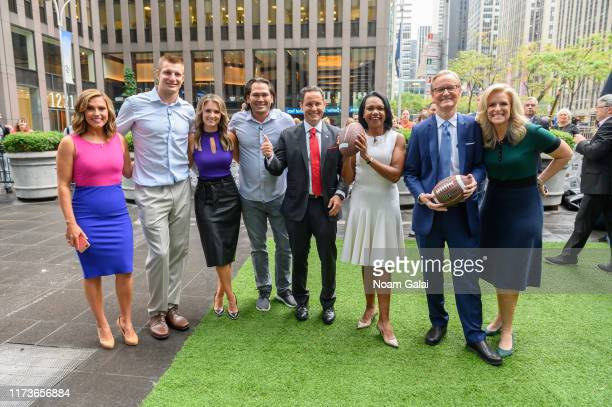 Lisa Boothe Rob Gronkowski Jillian Mele Johnny Damon Brian Kilmeade Condoleeza Rice Steve Doocy and Janice Dean visit FOX Friends at Fox News Channel...