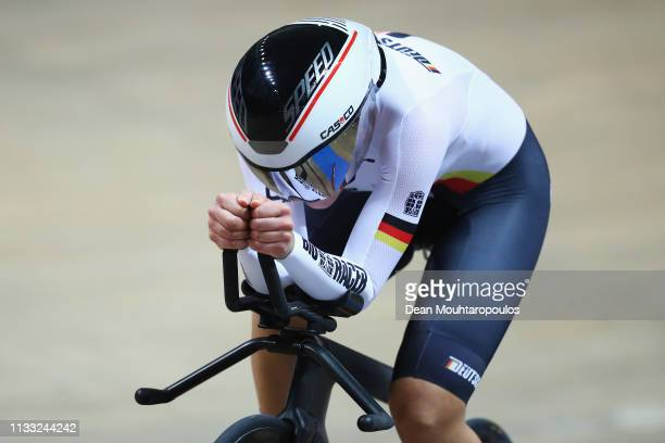 Lisa Brennauer of Germany competes in the Women's individual pursuit race final on day four of the UCI Track Cycling World Championships held in the...