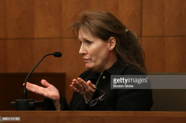 Lisa Brown the mother of Joshua Messier testifies during the trial of three prison guards facing manslaughter charges in the 2009 death of Messier a...