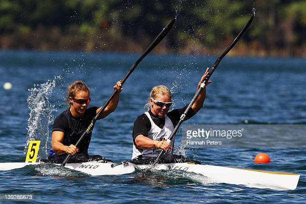 Lisa Carrington and Erin Taylor of Eastern Bay race in the Open Women's K2 200m final during the 2012 Canoe Sprint Championships at Blue Lake on...