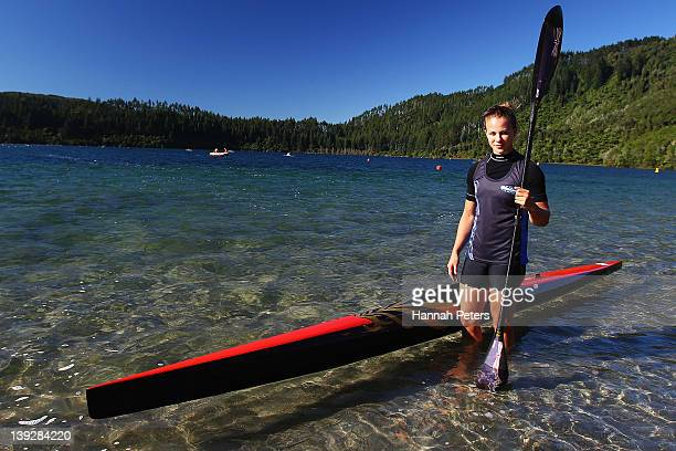Lisa Carrington of Eastern Bay poses for a photo during the 2012 Canoe Sprint Championships at Blue Lake on February 19 2012 in Rotorua New Zealand
