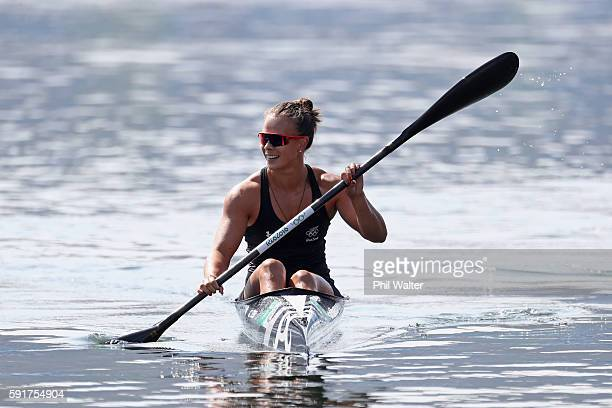 Lisa Carrington of New Zealand competes during the Women's Kayak Single 500m Final at the Lagoa Stadium on Day 13 of the 2016 Rio Olympic Games on...