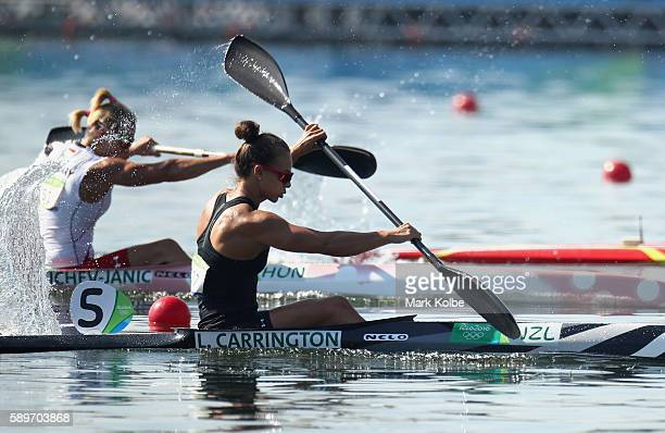 Lisa Carrington of New Zealand competes in the Women's Kayak Single 200m Heat 1 on Day 10 of the Rio 2016 Olympic Games at Lagoa Stadium on August 15...
