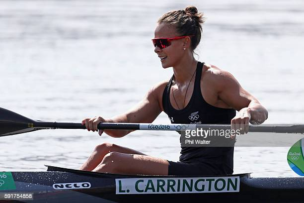 Lisa Carrington of New Zealand reacts after winning bronze in the Women's Kayak Single 500m Final at the Lagoa Stadium on Day 13 of the 2016 Rio...