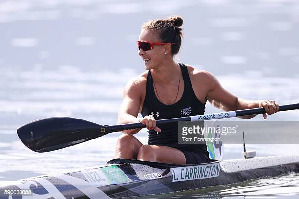 Lisa Carrington of New Zealand reacts after winning gold during the Women's Kayak Single 200m A on Day 11 of the Rio 2016 Olympic Games at the Lagoa...