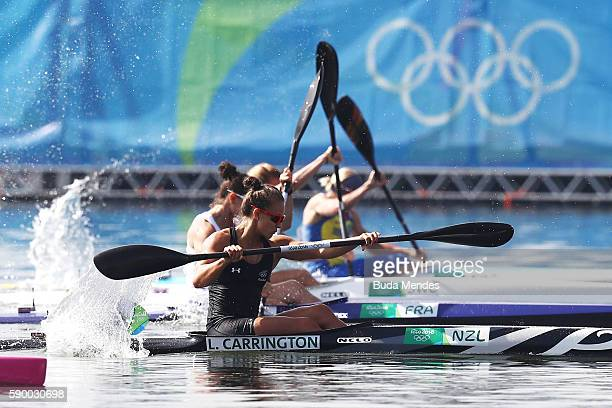 Lisa Carrington of New Zealand wins gold during the Women's Kayak Single 200m A on Day 11 of the Rio 2016 Olympic Games at the Lagoa Stadium on...