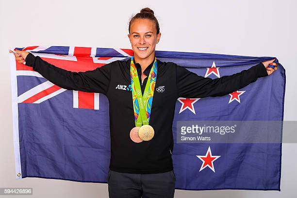 Lisa Carrington poses for a portrait with her Olympic K1 Kayak Gold and Bronze medals during the New Zealand Olympic Games athlete home coming at The...