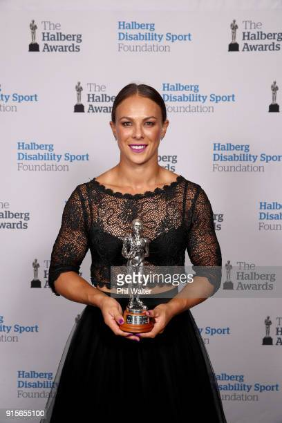 Lisa Carrington poses with the Sportswoman of the Year award at the 55th Halberg Awards at Spark Arena on February 8 2018 in Auckland New Zealand