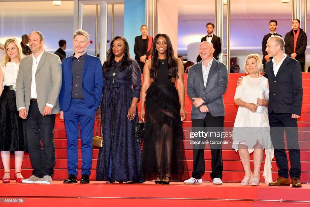 Lisa Chinn, Jonathan Chinn, director Kevin Macdonald, executive producer Pat Houston, Rayah Houston, producer Jonathan Chinn, executive producer Nicole David and editor Sam Rice-Edwards attend the screening of 'Whitney' during the 71st annual Cannes Film Festival at Palais des Festivals on May 16, 2018 in Cannes, France.