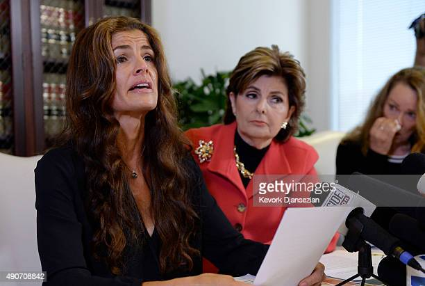 Lisa Christie former Mrs America from19971998 reacts as she speaks during a news conference with three new alleged sexual assault victims of comedian...