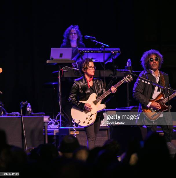 Lisa Coleman Wendy Melvoin and Rob Bacon of The Revolution perform at Majestic Theater on May 20 2017 in Detroit Michigan