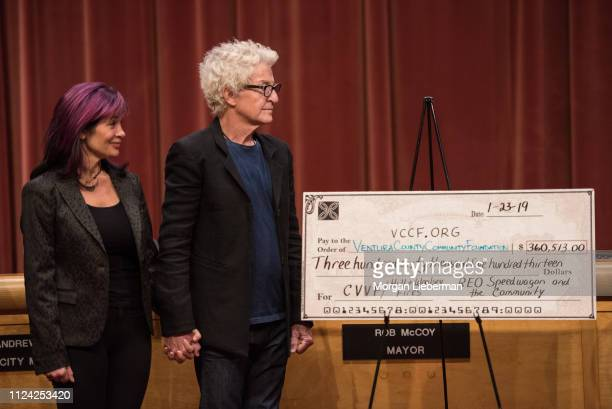 Lisa Cronin and Kevin Cronin of REO Speedwagon during the check presentation from the benefit concerts' proceeds to the Ventura County Community...