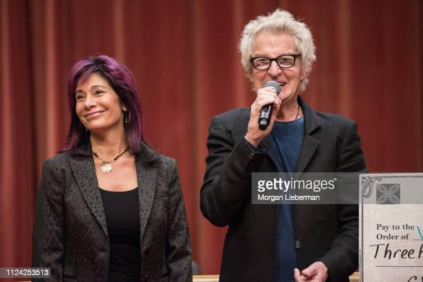Lisa Cronin and Kevin Cronin of REO Speedwagon during the check presentation from the benefit concerts' proceeds to Ventura County Community...