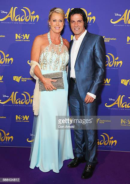 Lisa Curry and Mark Tabone arrive at the Opening Night of Aladdin at State Theatre on August 11 2016 in Sydney Australia